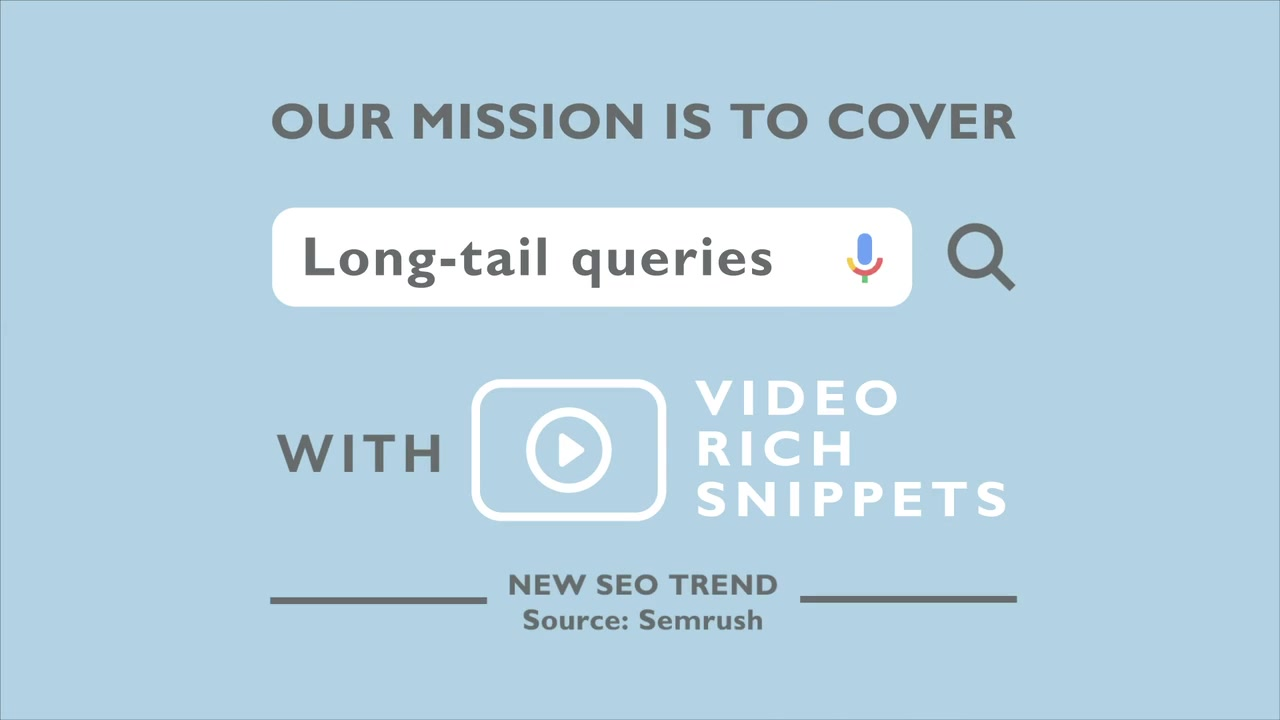 Long tail queries are the main target of video optimization company Luxyfer, a video SEO technology with focus on reaching a high number of long tail keywords automatically, resulting in highly optimized video content with rich snippet results
