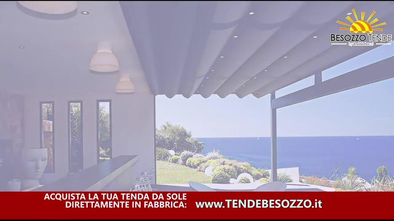 Tende da sole da esterno, produttore in provincia di Varese, Besozzo Tende, con molteplici modelli quali tende a bracci di varie dimensioni, avvolgibili, a vela, a caduta, da balcone, terrazzo, veranda o giardino, con design moderno